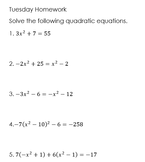 October 5th/Solving by Taking Square Roots - Ms. Schopke's Site